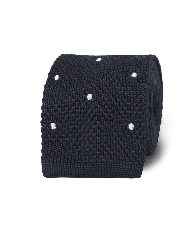 Navy White Spot Knitted Silk Tie