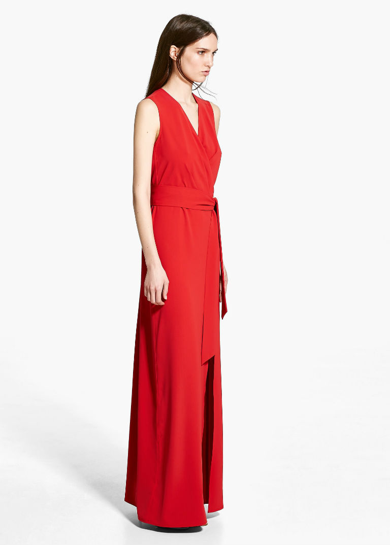 Mango low bow maxi dress