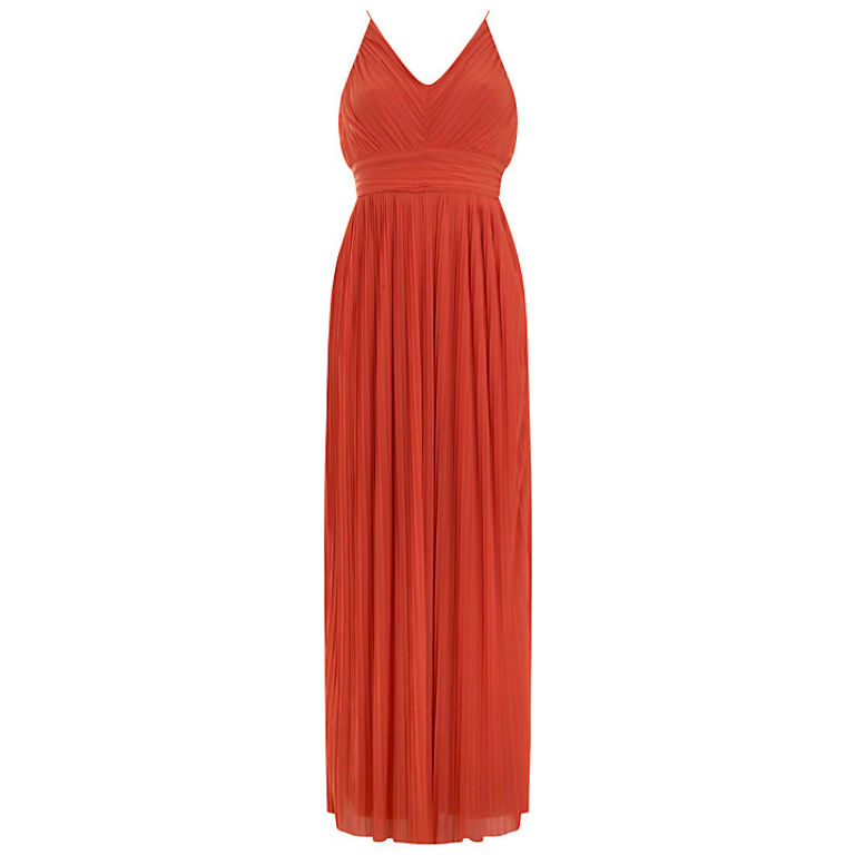 Miss Selfridge Pleated Dress in Orange