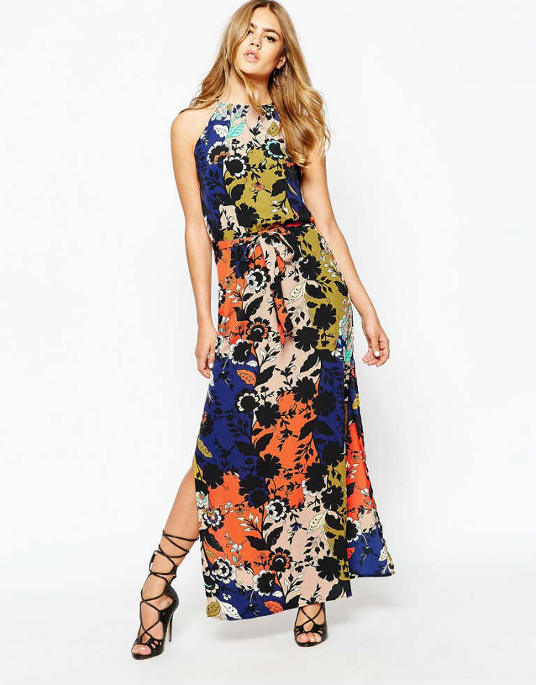 River Island Halter Split Side Maxi Dress