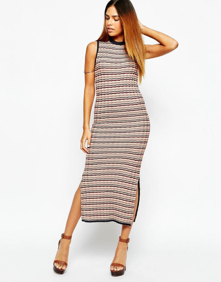 Warehouse Stripe Split Side Midi Dress