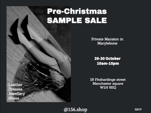 Pre-Christmas Sample Sale – 29th – 30th October 2019