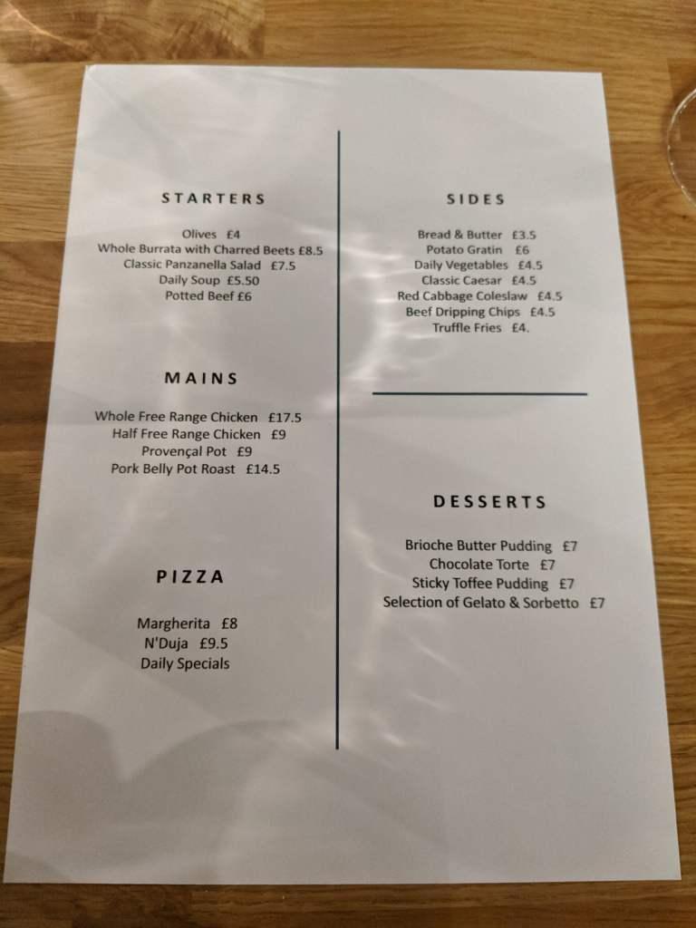 Bread Ahead Wembley menu