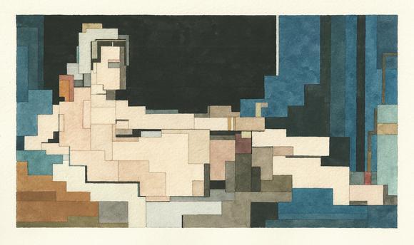 # 這些水彩畫作要瞇著眼睛看: Adam Lister 汲取藝術作及流行文化的8位元水彩作品 1