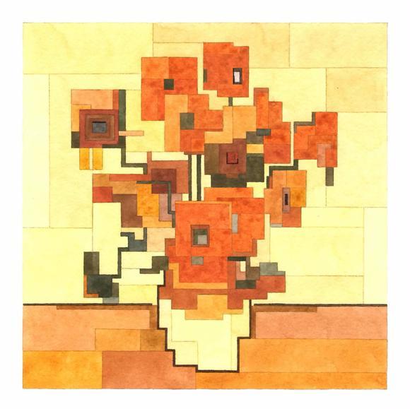 # 這些水彩畫作要瞇著眼睛看: Adam Lister 汲取藝術作及流行文化的8位元水彩作品 9
