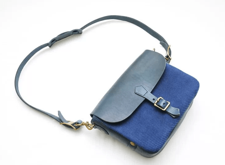 # 日本製雙重傳統藍染郵差包:Vasco - Leather Postman Mini Shoulder Bag / Sashiko 1