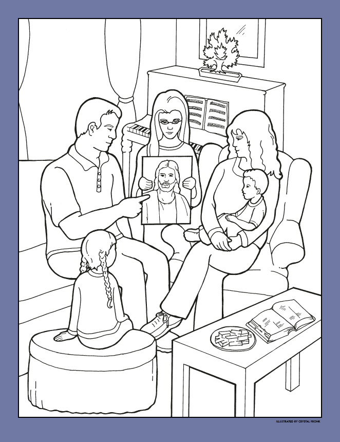 family home evening including a girl holding a picture of