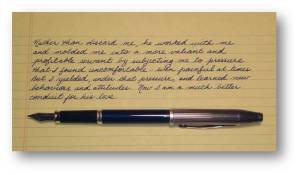 UImage of the blue fountain pen with silver cap that was made more useful by subjecting it to pressure.