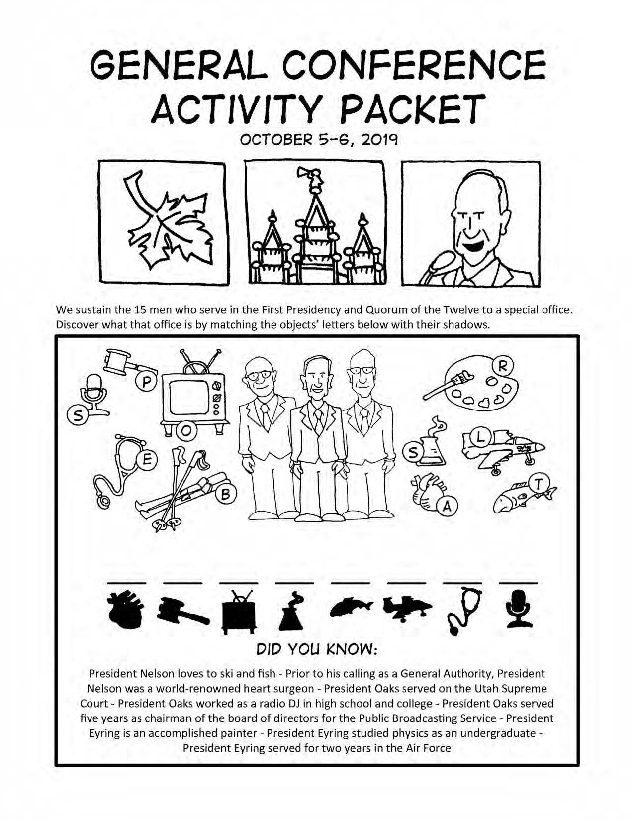 October General Conference Printable Activity Packet