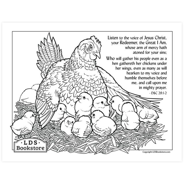 As a Hen Gathereth Her Chickens Coloring Page - Printable