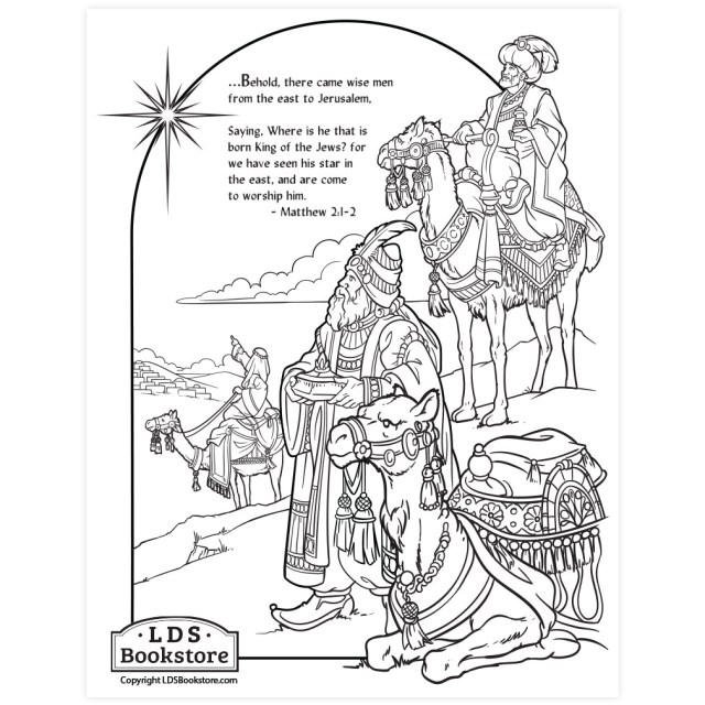 Wise Men Nativity Coloring Page - Printable  Christmas Coloring Page