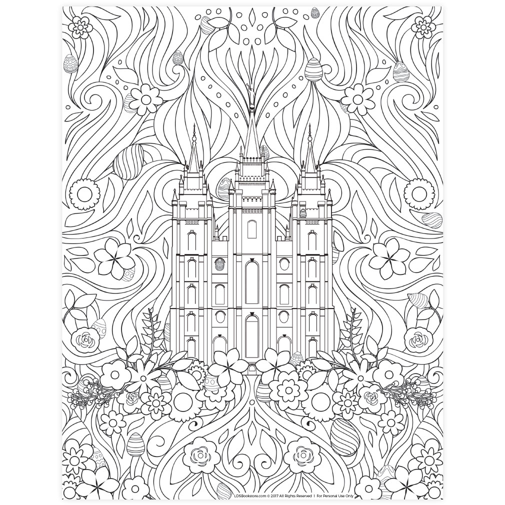 Easter Salt Lake Temple Coloring Page Printable In Lds Coloring Pages On Ldsbookstore Com