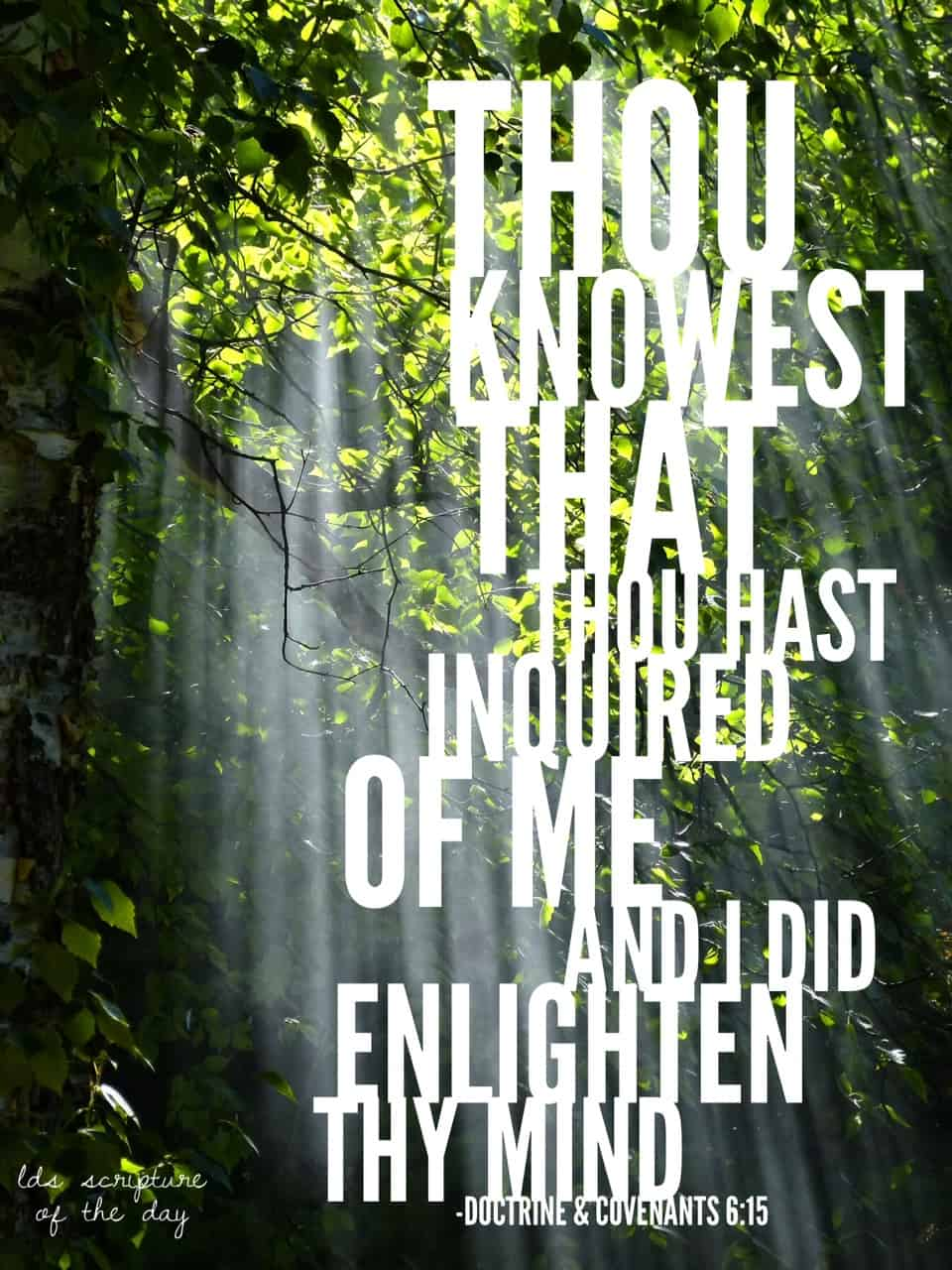 Behold, thou knowest that thou hast inquired of me and I did enlighten thy mind; and now I tell thee these things that thou mayest know that thou hast been enlightened by the Spirit of truth; Doctrine & Covenants 6:15