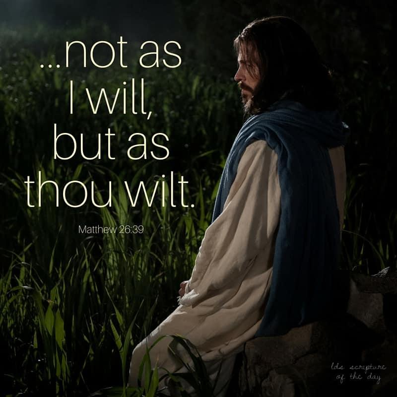 ...not as I will, but as thou wilt. Matthew 26:39
