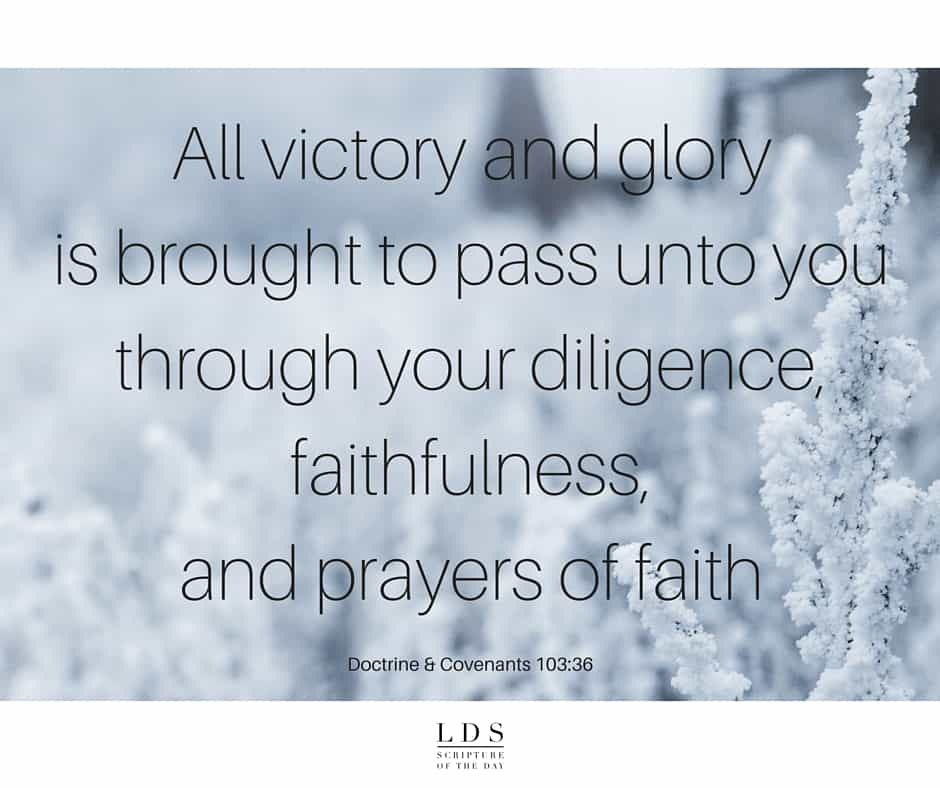 All victory and glory is brought to pass unto you through your diligence, faithfulness, and prayers of faith. Doctrine & Covenants 103:36