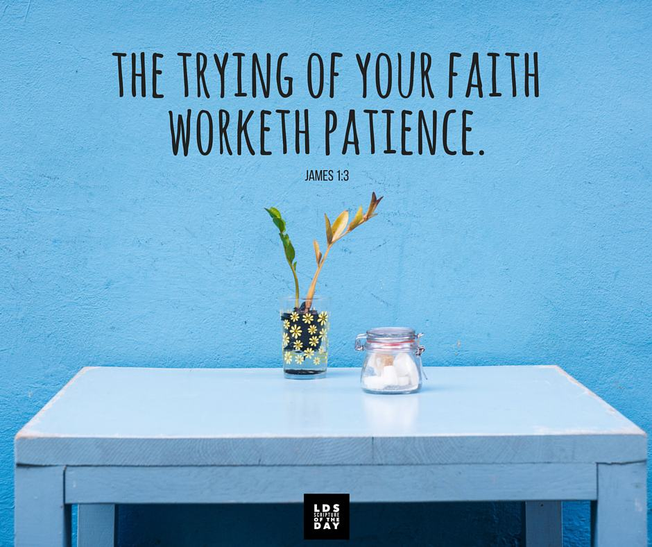 Knowing this, that the trying of your faith worketh patience. James 1:3