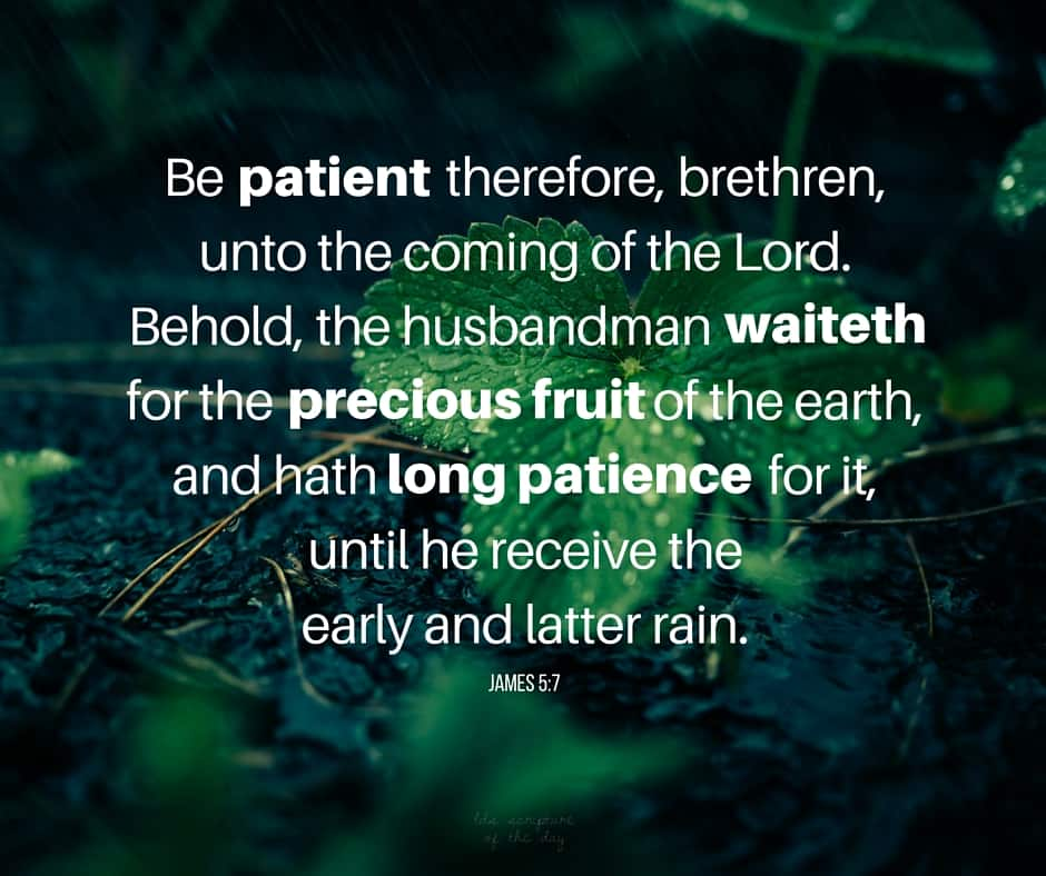 Be patient therefore, brethren, unto the coming of the Lord. Behold, the husbandman waiteth for the precious fruit of the earth, and hath long patience for it, until he receive the early and latter rain. James 5:7