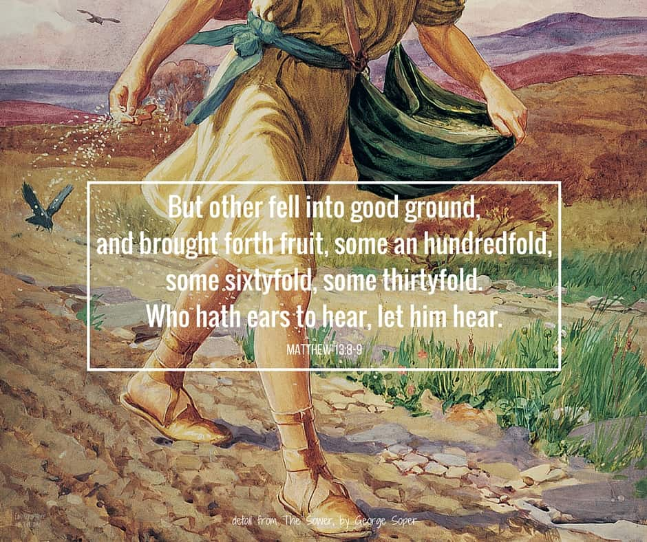But other fell into good ground, and brought forth fruit, some an hundredfold, some sixtyfold, some thirtyfold. Who hath ears to hear, let him hear. Matthew 13:3-9