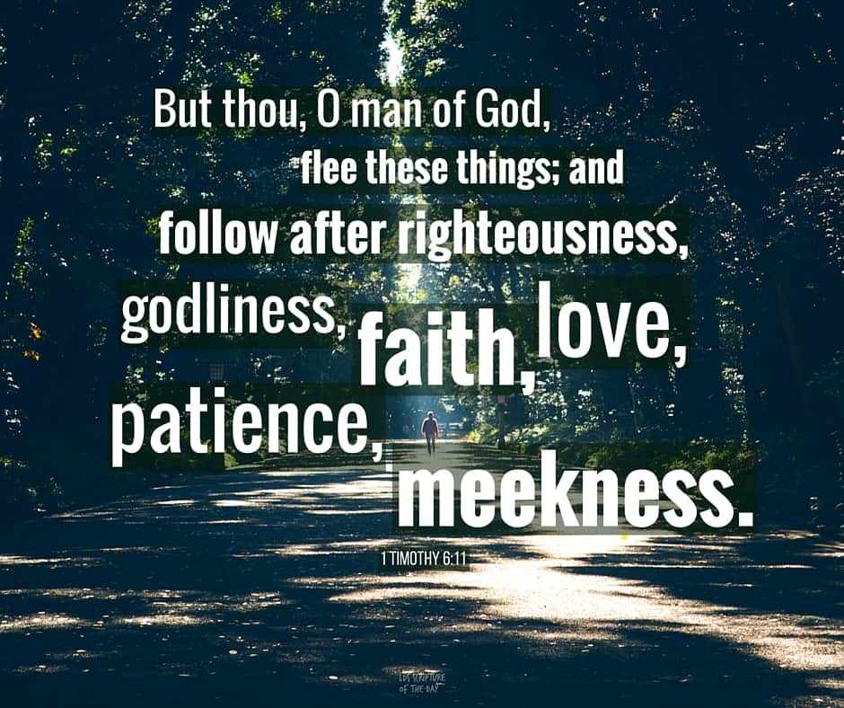 But thou, O man of God, flee these things; and follow after righteousness, godliness, faith, love, patience, meekness. 1 Timothy 6:11 Read in scriptures: http://bit.ly/28rO2Ck