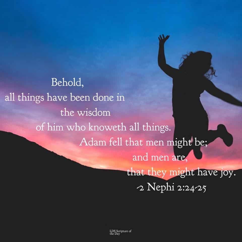 Behold, all things have been done in the wisdom of him who knoweth all things. Adam fell that men might be; and men are, that they might have joy. 2 Nephi 2:24-25