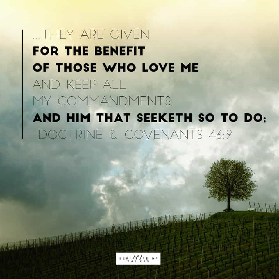 They are given for the benefit of those who love me and keep all my commandments, and him that seeketh so to do;... Doctrine & Covenants 46:9