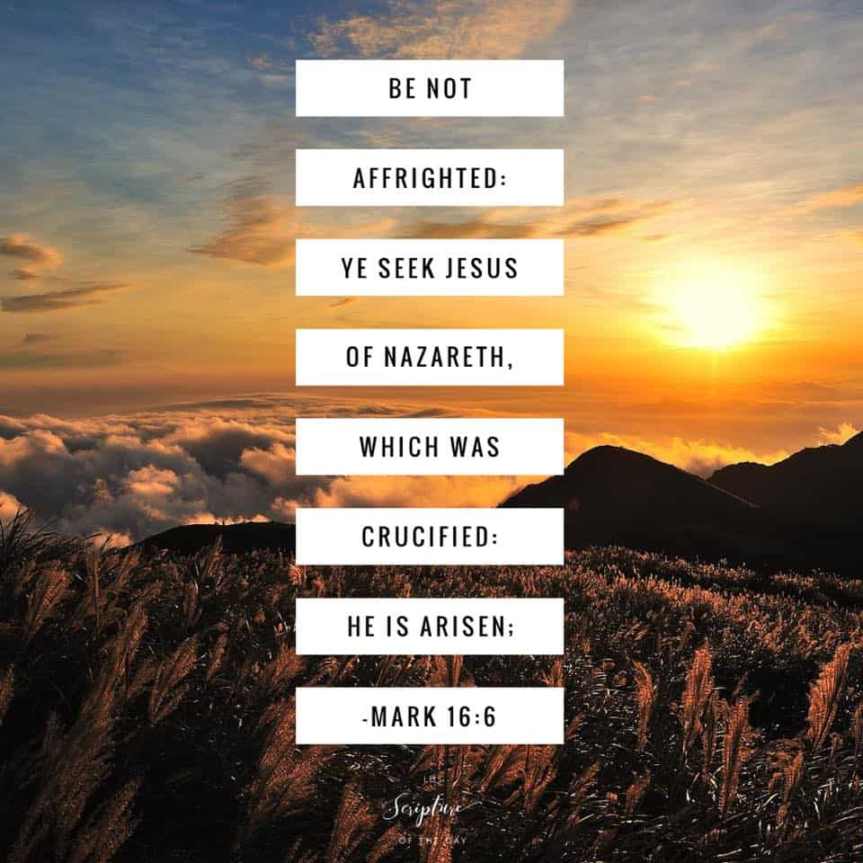 Be not affrighted: Ye seek Jesus of Nazareth, which was crucified: he is risen; Mark 16:6