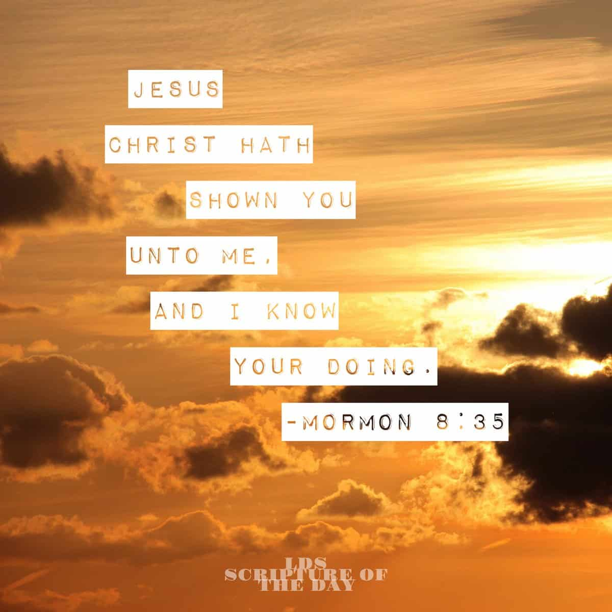 Jesus Christ hath shown you unto me, and I know your doing. Mormon 8:35
