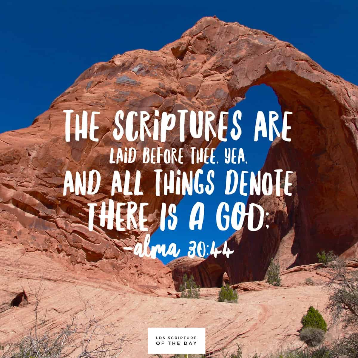 The scriptures are laid before thee, yea, and all things denote there is a God;... Alma 30:44