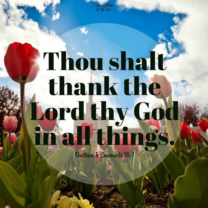 Thou shalt thank the Lord thy God in all things. Doctrine & Covenants 59:7