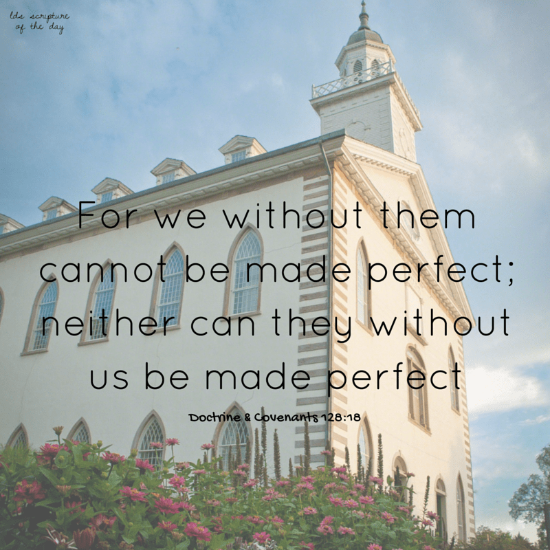 ...for we without them cannot be made perfect; neither can they without us be made perfect - Doctrine & Covenants 128:18
