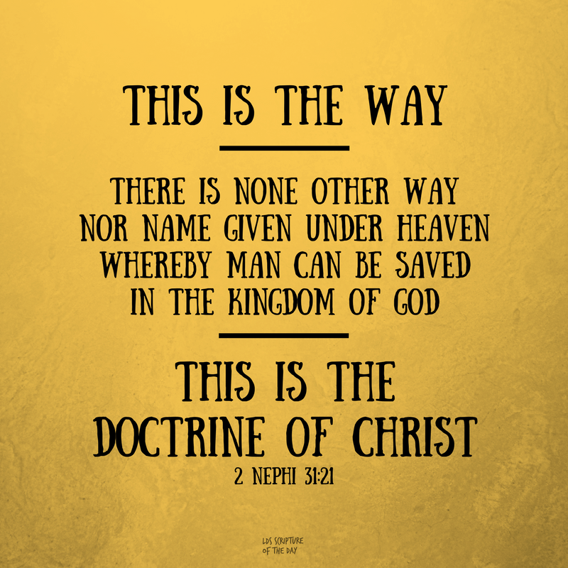 This is the way - There is none other way nor name given under heaven whereby man can be saved in the kingdom of God - this is the doctrine of Christ. 2 Nephi 31:21