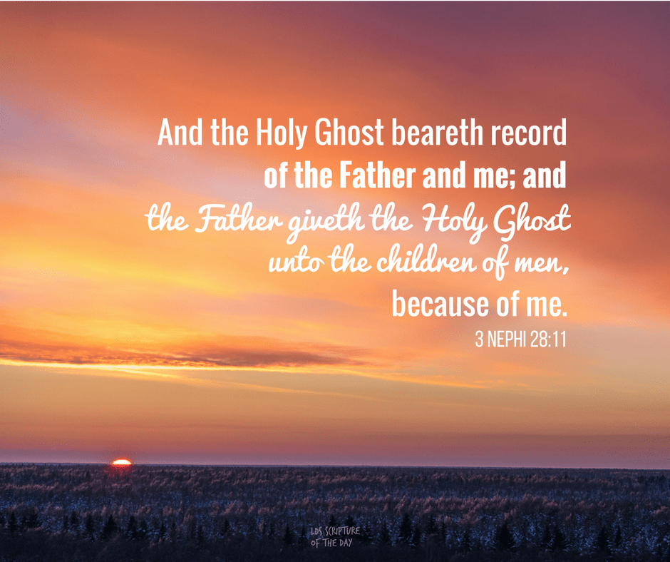 And the Holy Ghost beareth record of the Father and me; and the Father giveth the Holy Ghost unto the children of men, because of me. 3 Nephi 28:11