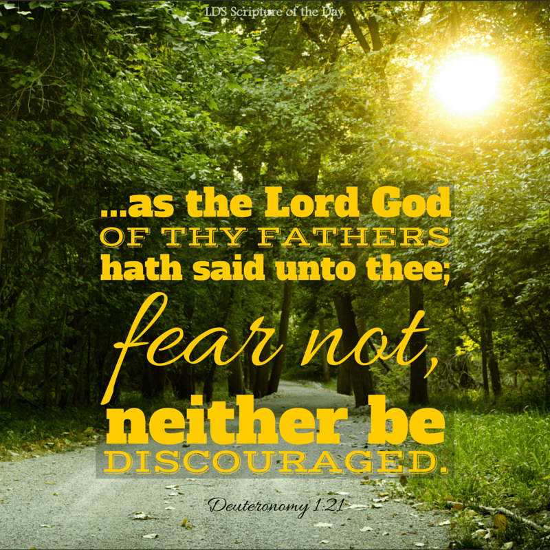 …as the Lord God of thy fathers hath said unto thee; fear not, neither be discouraged. Deuteronomy 1:21