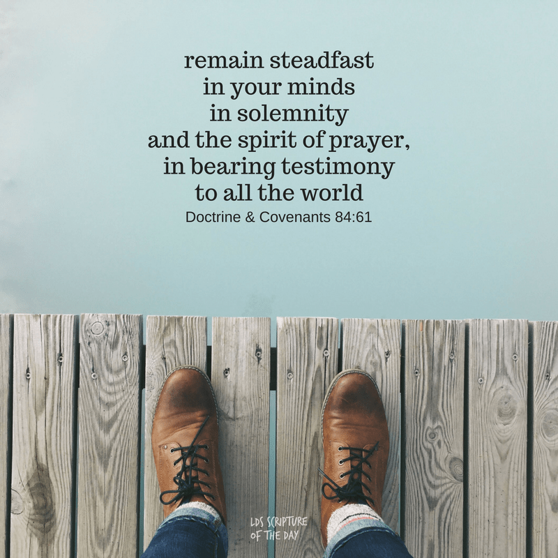 remain steadfast in your minds in solemnity and the spirit of prayer, in bearing testimony to all the world Doctrine & Covenants 84:61