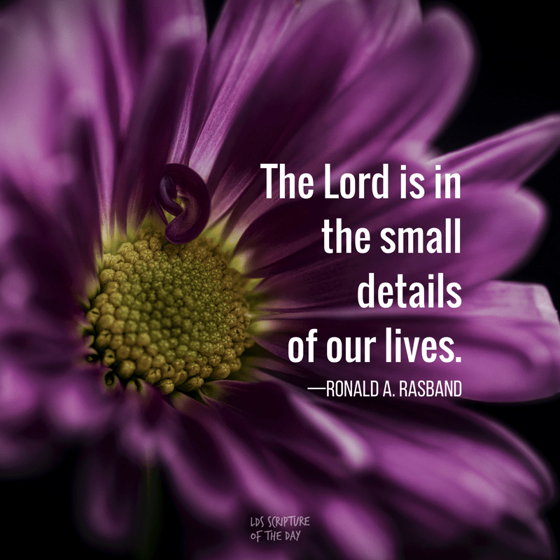 The Lord is in the small details of our lives. —Ronald A. Rasband