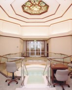 Octagon ceiling over an LDS temple baptismal font