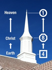 Eight-sided middle section of LDS Stake center steeple.
