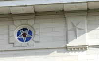 Nauvoo Day Star windows feature blue, white and red, perhaps representing water, spirit and blood