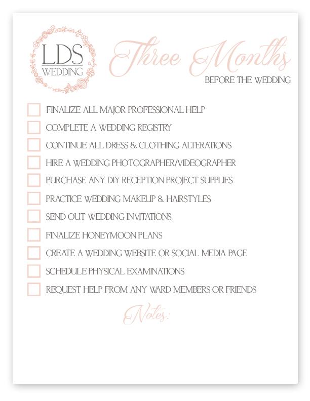 LDS Wedding Checklist | Three Month LDS Wedding Checklist