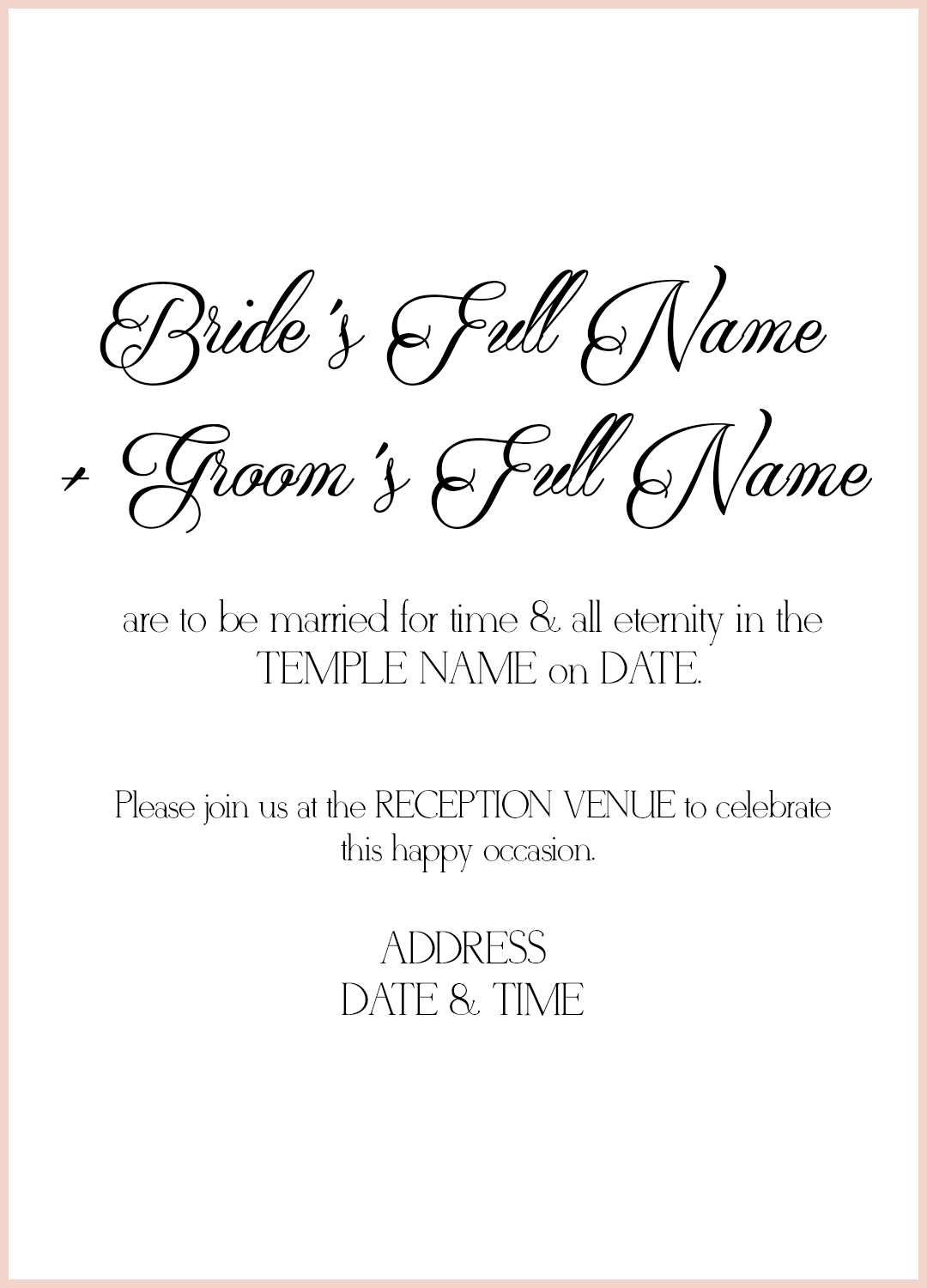 8 LDS Wedding Invitation Wording Samples LDS Wedding