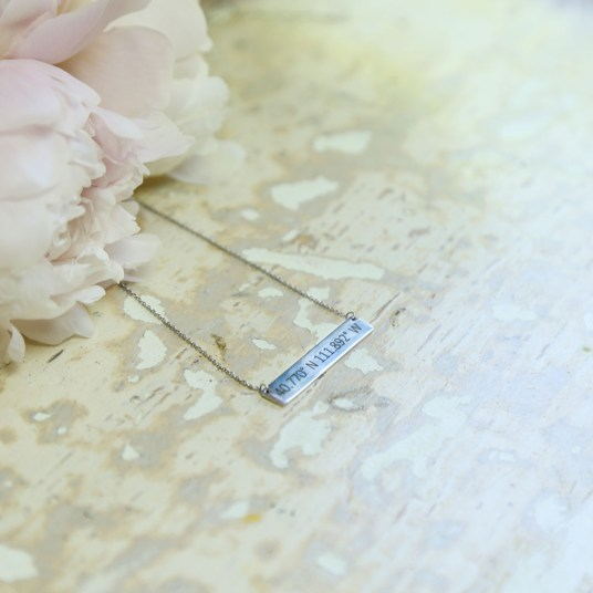 Temple Coordinates Bar Necklace - LDS Wedding Gifts