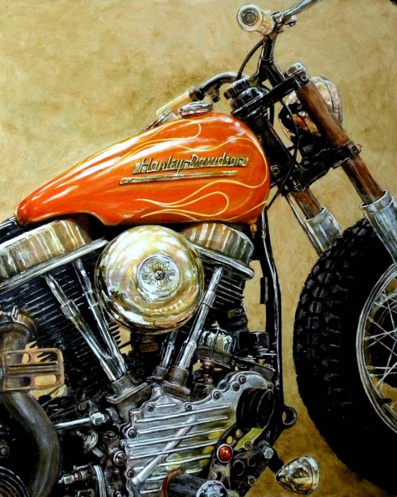 Acrylic on panel original painting titled 1949 FLH Panhead, Wabi-Sabi 06 by Lyndell Dean Wolff