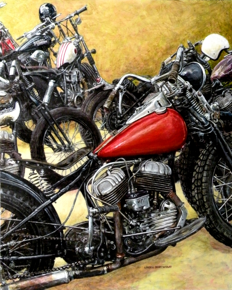 Acrylic on panel original painting titled 1940's WL Flathead, Wabi-Sabi 02 by Lyndell Dean Wolff