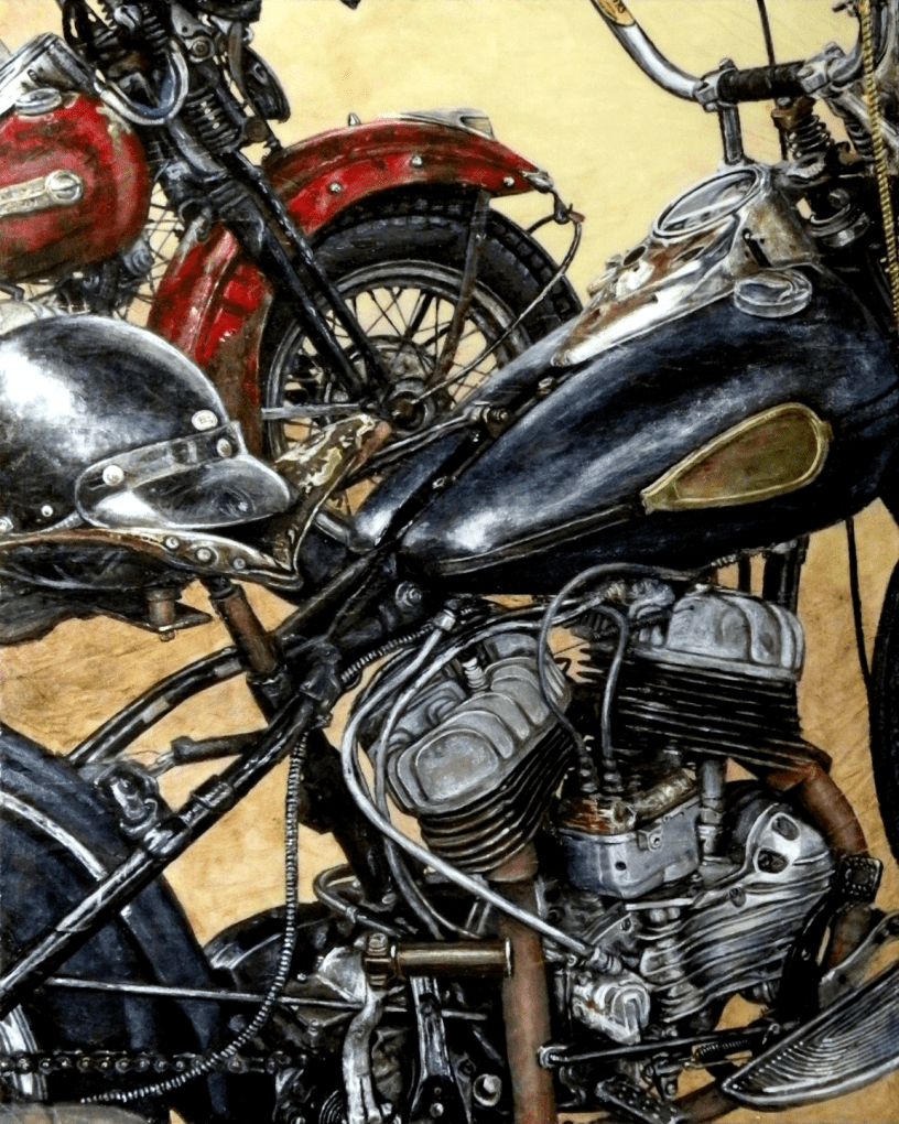 Acrylic on panel original painting titled 1940's WL Flathead, Wabi-Sabi 03 by Lyndell Dean Wolff