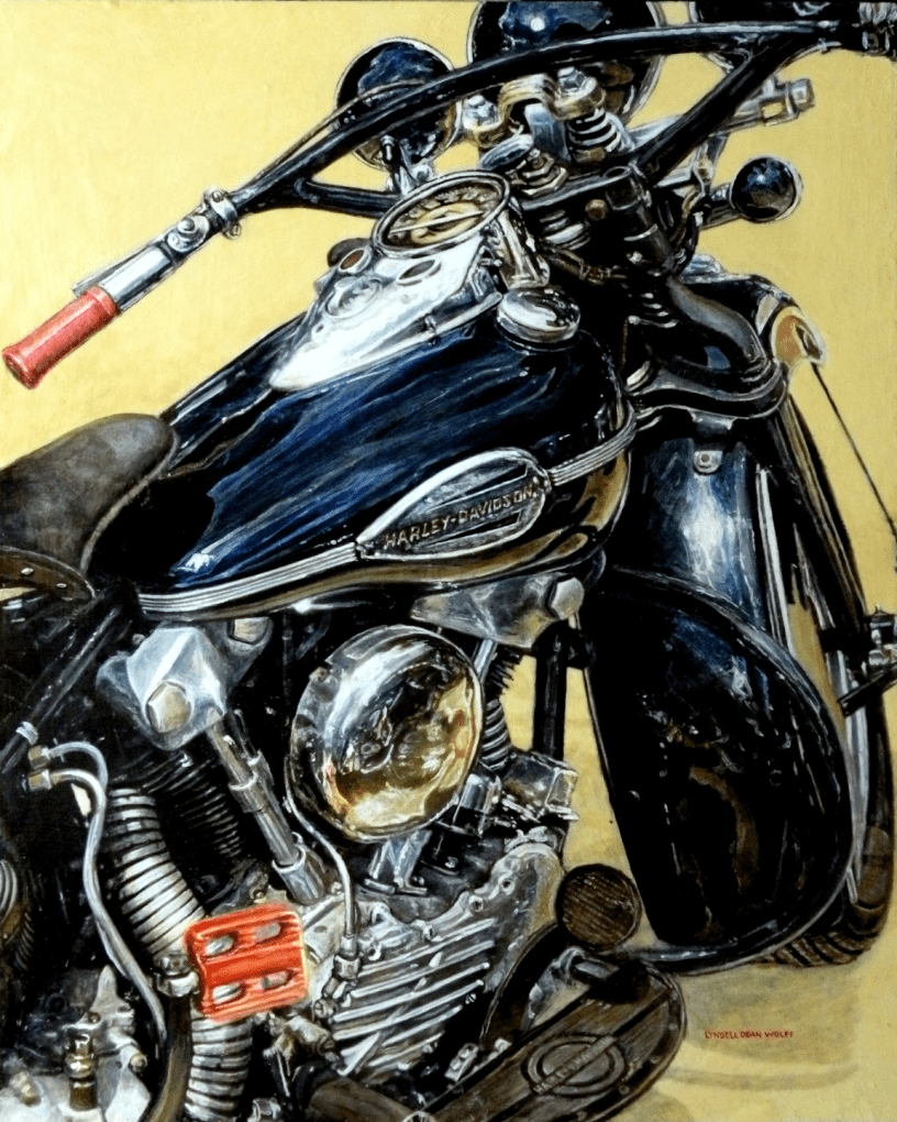 Acrylic on panel original painting titled 1947 FL Knucklehead, Wabi-Sabi 01 by Lyndell Dean Wolff