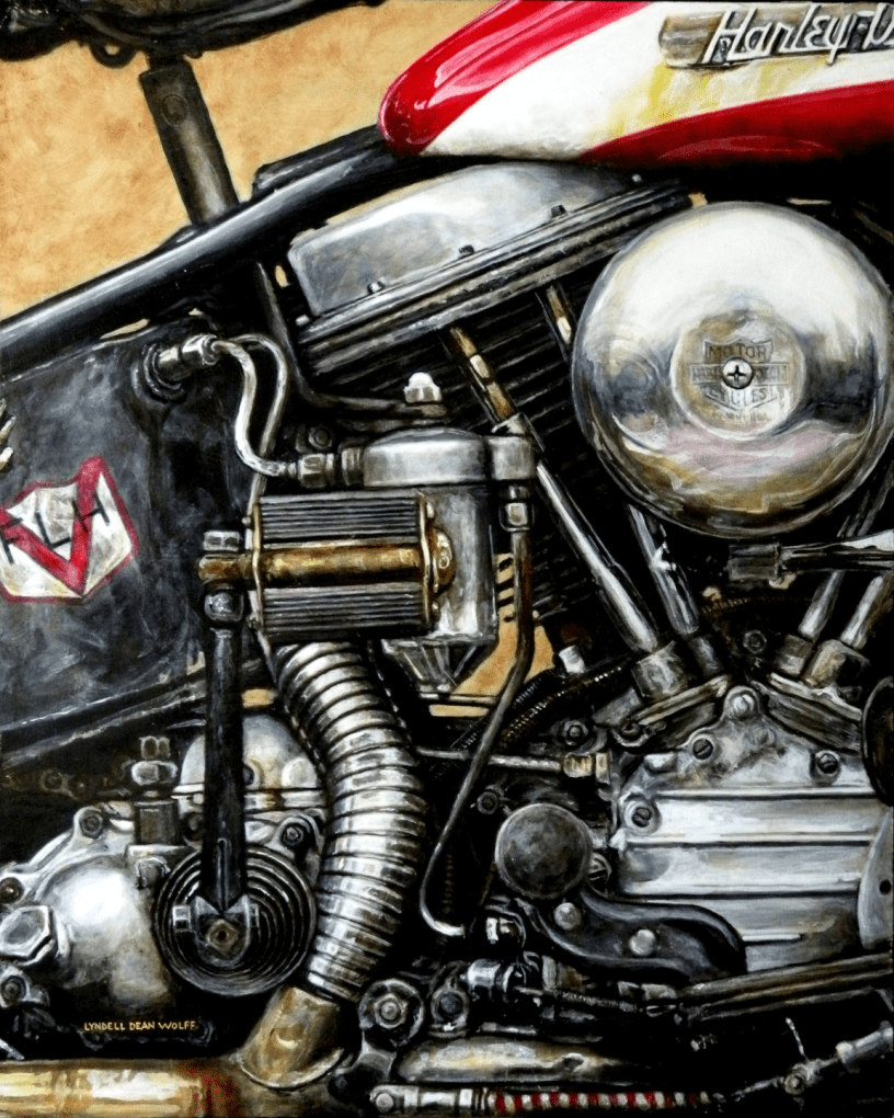 Acrylic on panel original painting titled 1955 FLH Panhead, Wabi-Sabi 05 by Lyndell Dean Wolff