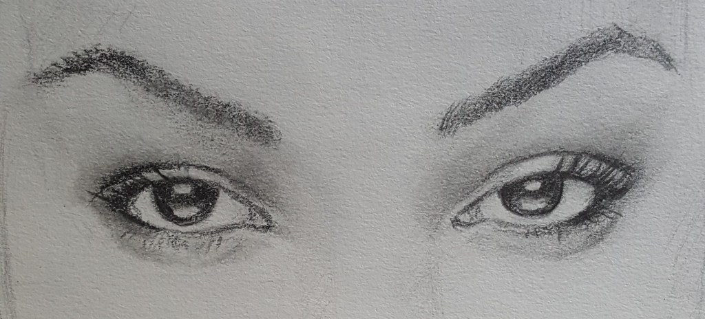 dessin réaliste au crayon gris d'un oeil