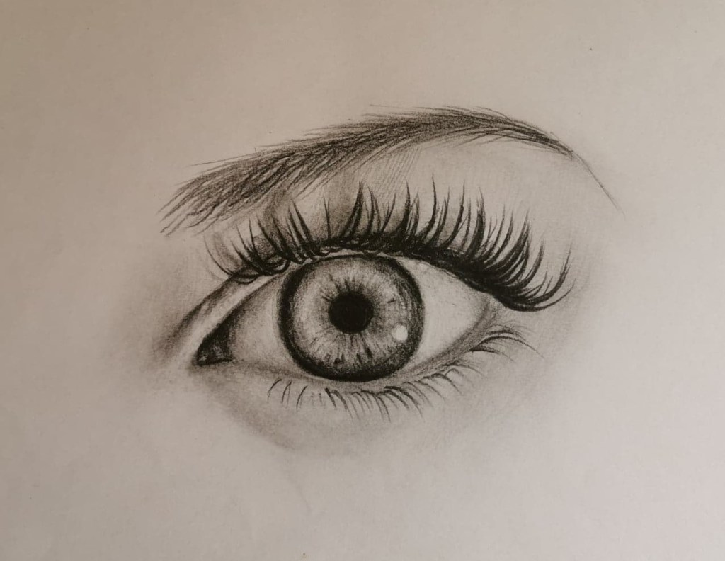 Dessin oeil réaliste terminé