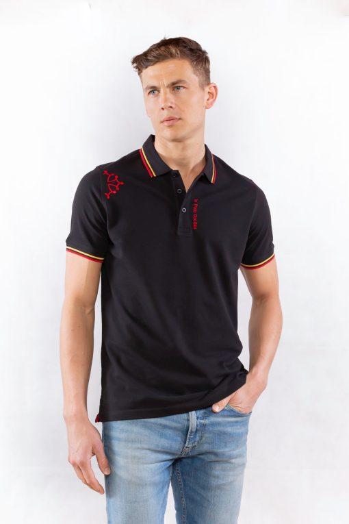Polo noir avec croix occitane rouge