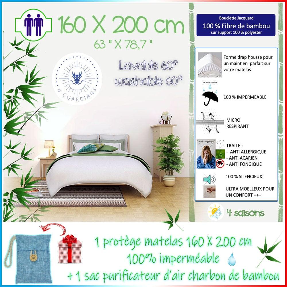 Protège matelas imperméable bambou anti acariens 140X200 160X200 90X200 60X120